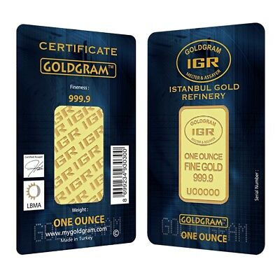 1 oz Istanbul Gold Refinery (IGR) Bar .9999 Fine (In Assay)