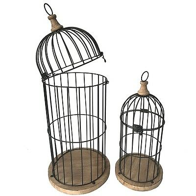 Set Of 2 Large Industrial Bird House Cage Birdhouse Outdoor Decor Metal Wooden