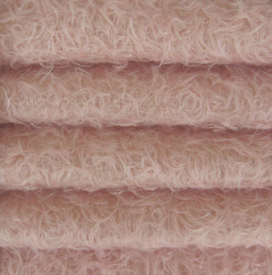 """1/3 yd 325S/CM Pale Pink INTERCAL 5/8"""" Semi-Sparse Curly Matted Mohair Fabric"""