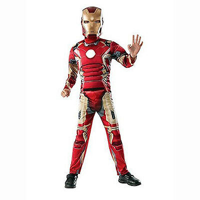 Marvel Avengers IRON MAN Movie Deluxe Boys Child Costume SM 4-6 Ages 3-4 Years