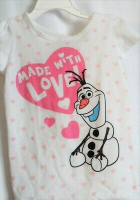 Girls 4T White Olaf Frozen Made With Love S/S Shirt Pink Hearts  Euc ~ Disney