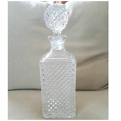 Vintage Glass Decanter Wine Bottle with Stopper ,Bar Liquor Whiskey Crystal 11''