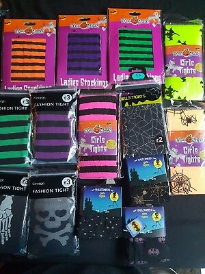 Halloween Fancy Dress Accessories -Tights -Batman,Spiders,Stripey,Bones,Pumpkin