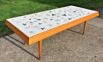 Mid Century Modern Mosaic Coffee Table Floral Stone Tile