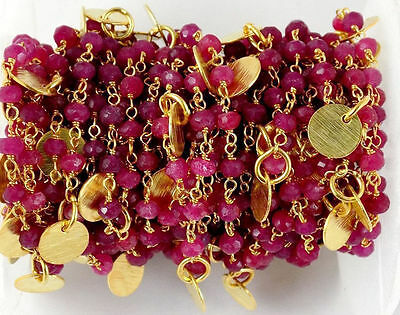 3 Feet Aventurine Ruby Faceted 24k Gold Plated 3.5-4mm Beaded Rosary Chain