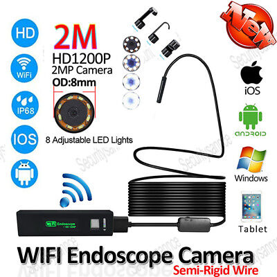 For Iphone Endoscope HD Wifi Camera 8mm 1200P Borescope Waterproof Video Tube 2M