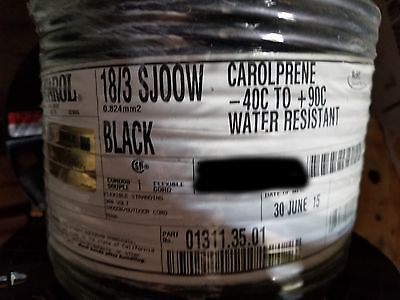 Carol 01311 18/3C Carolprene SJOOW 300V 90C Portable Power Cable Cord Black/50ft
