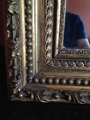 gilt carved wood VICTORIAN OVER MANTLE / BUFFET MIRROR 59 in by 53 in