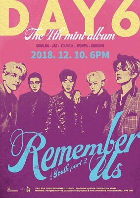 DAY6 [REMEMBER US:YOUTH PART2] 4th Mini Album CD+POSTER+P.Book+P.Card+Pre-Order