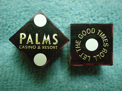 Pair of PALMS Let the Good Times Roll LV Casino Dice - Clear Dark Red, #s 0102