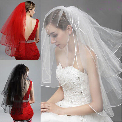 US Stock White/Ivory/Red/ Black 3T Wedding Bride Veil Fingertip Bridal With Comb