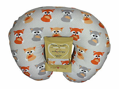 Nursing Pillow Slipcover Baby Gray Foxes Maternity Breastfeeding Newborn Cover
