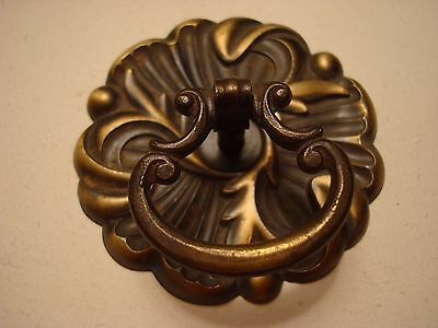 Vintage Brass Hollywood Regency 1960's Drawer Pulls with back plate  2 1/2""