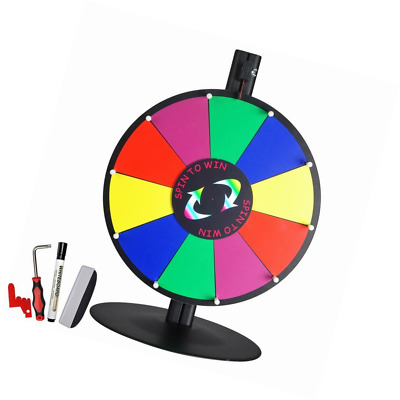 """15"""" 10 Slot Tabletop Color Dry Erase Prize Wheel and Stand Fortune Spinning Game"""