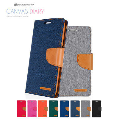 Samsung Galaxy A5 2017   A8 2018 Goospery Canvas Leather Card Wallet Case Cover