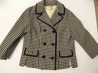 Fab Vtg 60s Houndstooth-Check-Print Wool Piped Pea-Coat Jacket-S/M