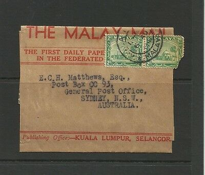 Malaya Mail Selangor 1941 Newspaper Wrapper To Sydney