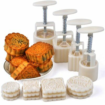 Hleeduo® Mid-Autumn Festival Hand-Pressure Moon Cake Mould With 12 Pcs Mode 4