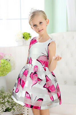 Girls & Baby DRESS PARTY Chiffon Butterfly Print DRESS HOT Pink SIZE 3/9M-6Y 642