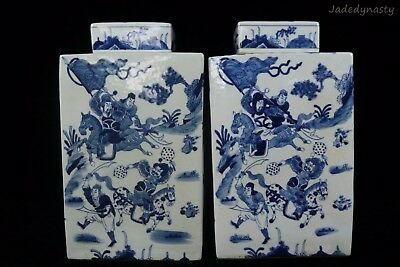 A Pair Chinese Beautiful Blue and White Porcelain Warriors Fighting Tea Caddies