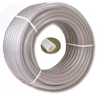 "PVC Braided Airline/Water Hose 1/4"" I/D X 10Mtrs Clear"