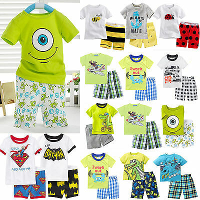 Kids Boys Baby Toddler Summer T-Shirts + Shorts Pants Outfits Sets Clothing 1-8Y