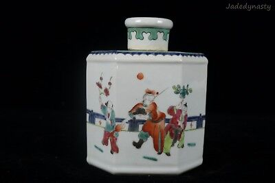 A Chinese Beautiful Famille Rose Porcelain Characters Tea Caddy