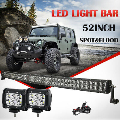 "52"" 1000W 4D PHILIPS CURVED Spot&Flood LED Work Light Bar Truck SUV Offroad 22"""