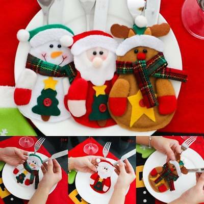 5PCS Christmas Xmas Design Dinner Table Decoration Tableware Cutlery Holder Bag