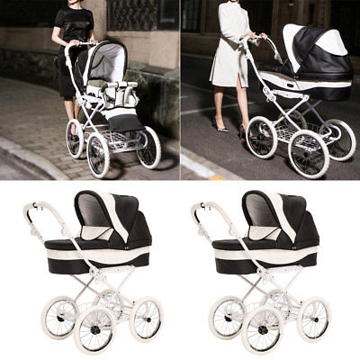 NEW Luxury Baby Pushchair Leather Single Seat Stroller Baby Carrier Pram Buggy