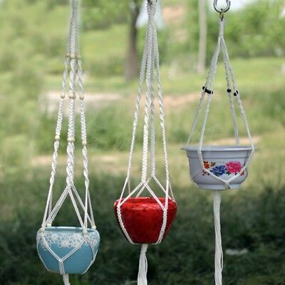 New Cotton Rope Legs Plant Hanger Hanging Planter Basket Balcony Indoor Outdoor