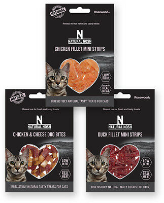 Natural Nosh Chicken Duck Cheese Fillet Mini Strips Cat Treats Bites 50g