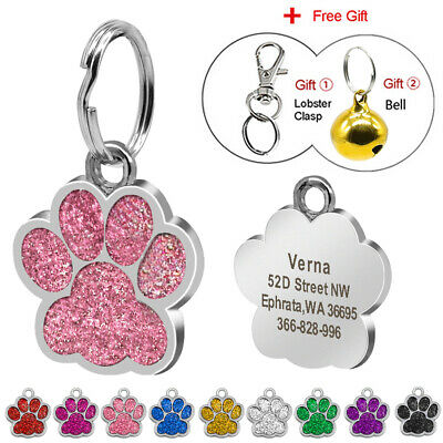 Bling Paw Personalized Custom Engraved Dog Tags Puppy Cat Dog ID Tag Collar Tags