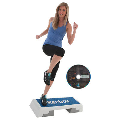 REEBOK Step Semi-Professional inkl. DVD Stepp Brett Stepper Aerobic WEISS/Blau