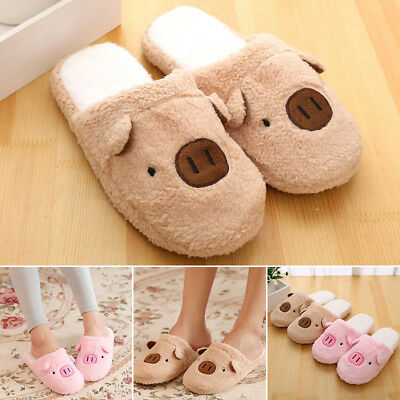 Adults Warm Casual Slippers Cute Pig Slip On Winter Indoor Soft Comfy Slipper
