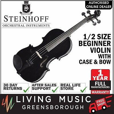 NEW Steinhoff 1/2 Size Beginner Student Violin with Case and Bow (Black)