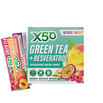 X50 Green Tea Assorted Flavours Pack Detox Fat Burner Weight Loss Free Shipping