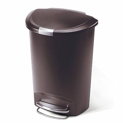 13.2 Gal Step Trash Can Kitchen Home Garbage Semi Round Large Plastic Brown
