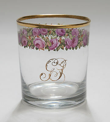 Antique Edwardian Hand Painted Enamel Rose & Leaves Tumbler Drinking Glass