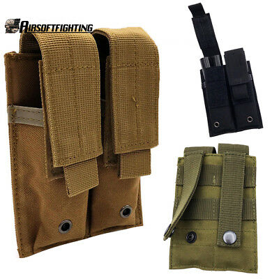 Tactical Double MOLLE PALS Dual Pistol Magazine Pouch Holster 1911 9mm 45