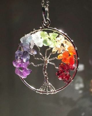 The Tree of Life Healing Natural Gemstone Pendant Necklace-7 Chakra/FREE P&P
