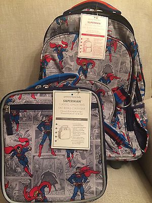 NWT Pottery Barn Kids Rolling Backpack & Classic Lunchbox NO MONO
