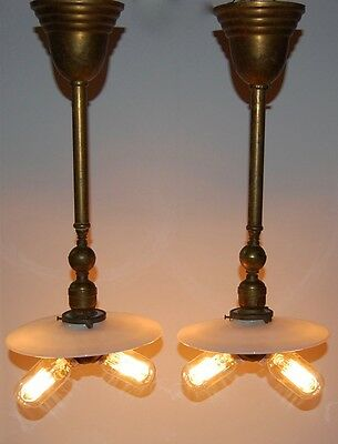 Pair of Brass Industrial Antique Pendant Lights Cluster Sockets Spring Loaded