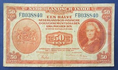 1943 Netherlands Indies 50 Fifty Cents FB038840