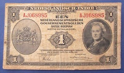 1943 Netherlands Indies 1 Een Gulden AJ068985