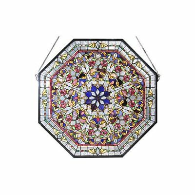 """Meyda Tiffany 107222 - 25""""W X 25""""H Front Hall Floral Stained Glass Window"""
