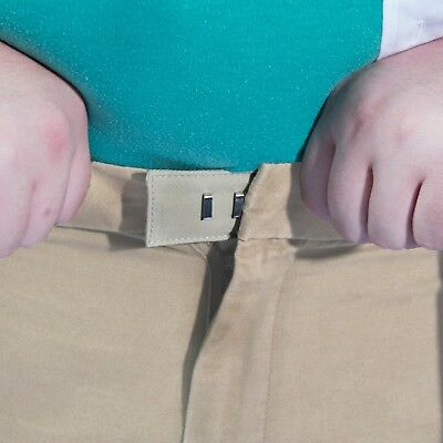 5-Pack Pant Waistband Extender - Sturdy Cotton Hook - Adjustable to 3 sizes