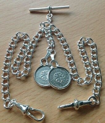 Double Silver Threepence Coin Fob Silver Plate Double Albert Pocket Watch Chain