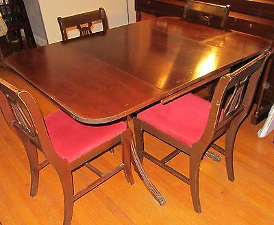 1957 Antique Drop Leaf Table with 4 Chairs - In the Duncan-Phyfe Style