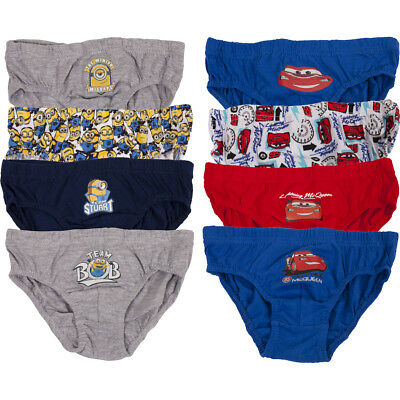 Cars & Minions Childrens Kids Underwear Boys Boxers Briefs Pants 6-12 Pairs Pack